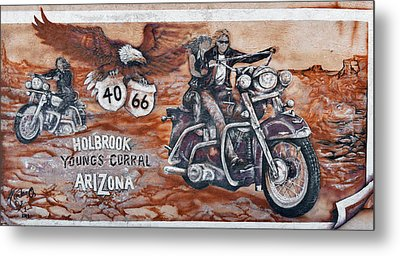 Young's Corral In Holbrook Az On Route 66 - The Mother Road Metal Print by Christine Till
