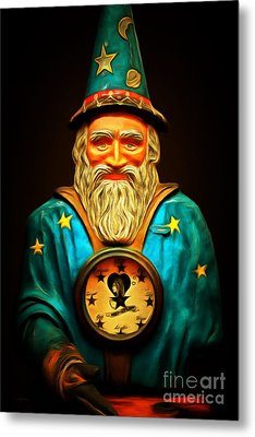 Your Fortune Be Told By The Wizard Fortune Telling Machine 7d144 Metal Print by Wingsdomain Art and Photography