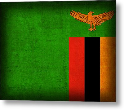 Zambia Flag Distressed Vintage Finish Metal Print by Design Turnpike