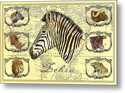 Zebra African Map Heads Metal Print by Juan  Bosco