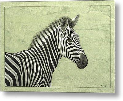 Zebra Metal Print by James W Johnson