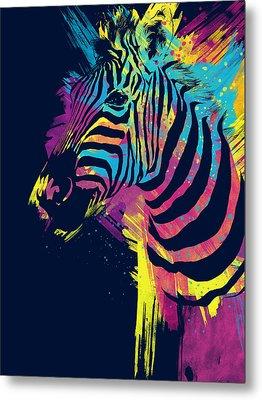 Zebra Splatters Metal Print by Olga Shvartsur
