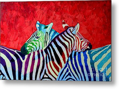 Zebras In Love  Metal Print by Ana Maria Edulescu