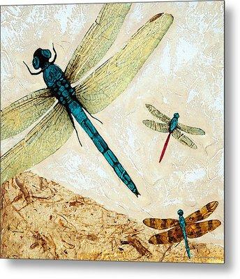 Zen Flight - Dragonfly Art By Sharon Cummings Metal Print by Sharon Cummings