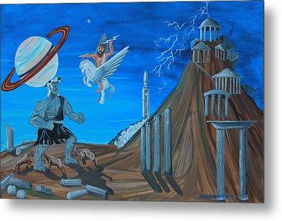 Zeus Versus The Titans Metal Print by Mike Nahorniak