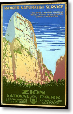 Zion National Park Ranger Naturalist Service  Metal Print by Unknown