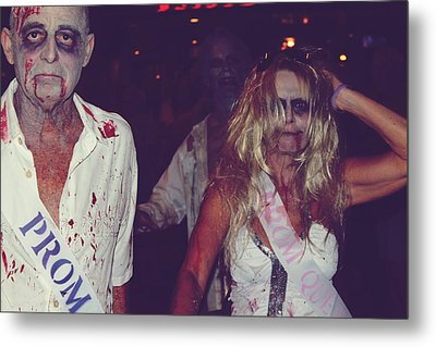 Zombie Prom King And Queen Metal Print by Laurie Search