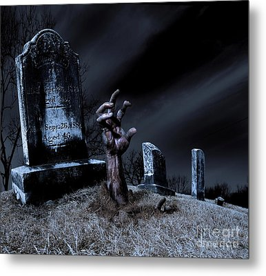 Zombie Rising From The Grave Metal Print by Diane Diederich