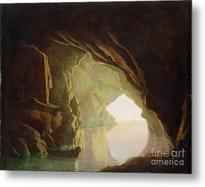 A Grotto In The Gulf Of Salerno - Sunset Metal Print by Joseph Wright of Derby
