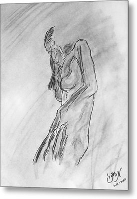 Female Nude Figure Sketch In Monochrome Black White Charcoal Turning Away Metal Print by M Zimmerman