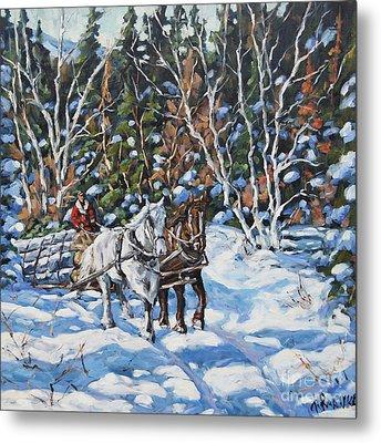 Horses Hauling Wood In Winter By Prankearts Metal Print by Richard T Pranke