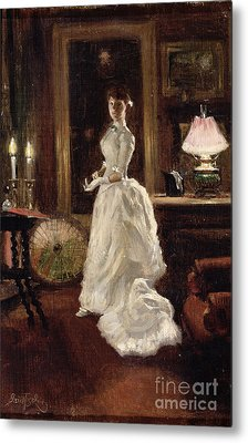 Interior Scene With A Lady In A White Evening Dress  Metal Print by Paul Fischer