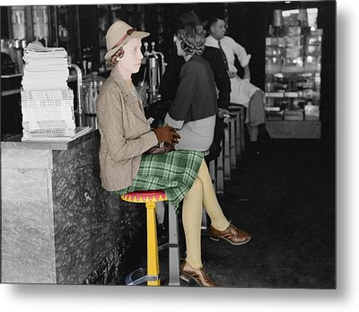 Lady In A Diner Metal Print by Andrew Fare