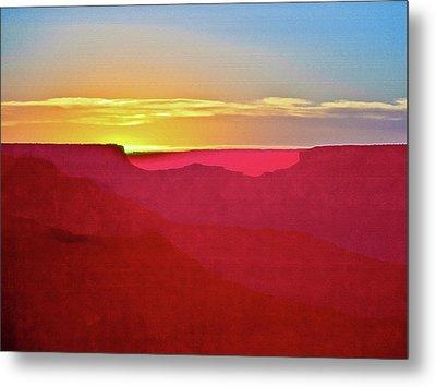 Sunset At Grand Canyon Desert View Metal Print by Bob and Nadine Johnston