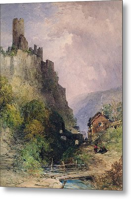 The Castle Of Katz On The Rhine Metal Print by William Callow