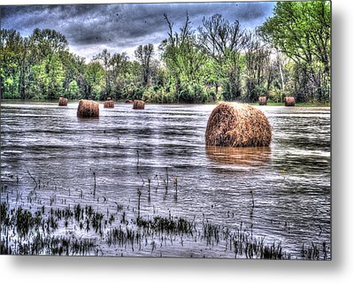 0804-3586 Flooded Hay Metal Print by Randy Forrester