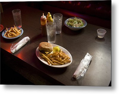 A Hamburger Lunch At A Restaurant Metal Print by Joel Sartore