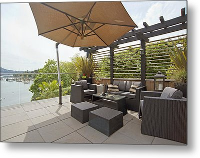 A House Terrace Overlooking The Water Metal Print by Marlene Ford