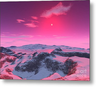 A Hypothetical Planet Orbiting A Red Metal Print by Ron Miller