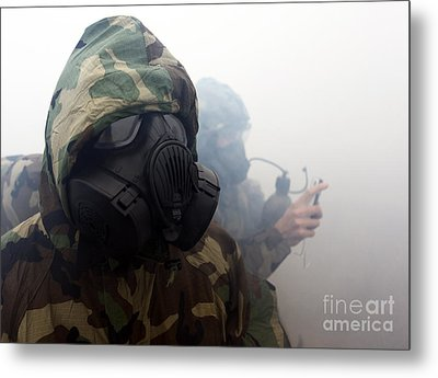 A Marine Wearing A Gas Mask Metal Print by Stocktrek Images