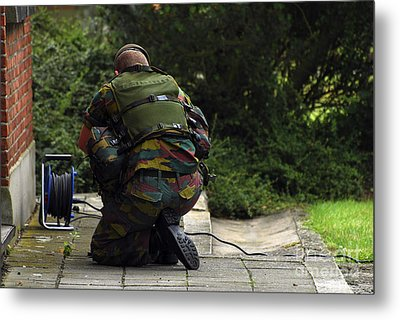 A Soldier Of The Belgian Army Metal Print by Luc De Jaeger