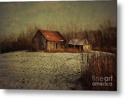 Abandoned Barn After The First Snow Metal Print by Sandra Cunningham