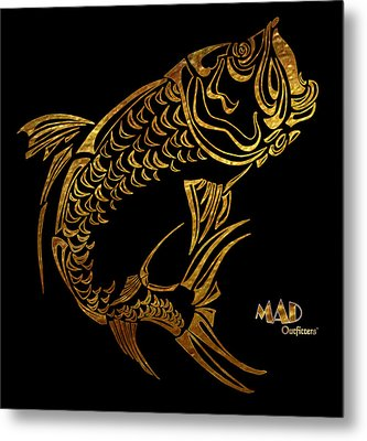 Abstract Tarpon Fishing Mad Outfitters Fish Design Metal Print by MAD Outfitters