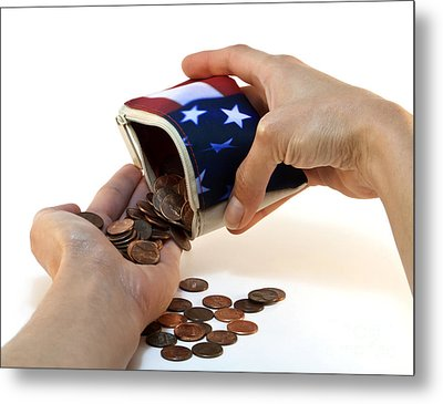 American Flag Wallet With Coins And Hands Metal Print by Blink Images