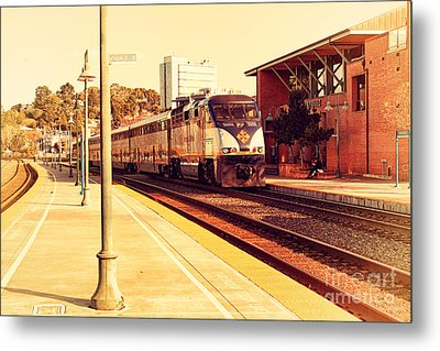 Amtrak Train At The Martinez California Train Station . 7d10495 Metal Print by Wingsdomain Art and Photography