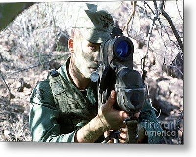An Army Ranger Sets Up An Anpaq-1 Laser Metal Print by Stocktrek Images
