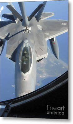 An F-22 Raptor Receives Fuel Metal Print by Stocktrek Images