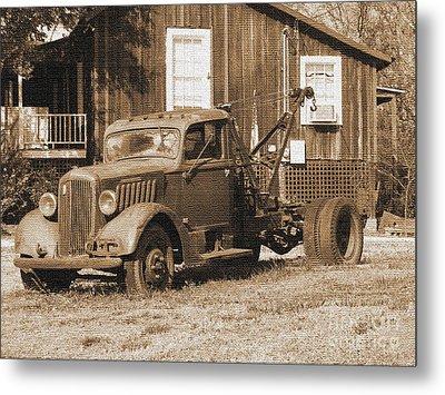 Antique Tow Truck Metal Print by Barbara Bowen