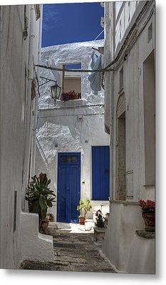 Apulia - Blue-white Metal Print by Joana Kruse