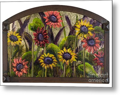 Arched Sunflowers With Gold Leaf By Vic Mastis Metal Print by Vic  Mastis