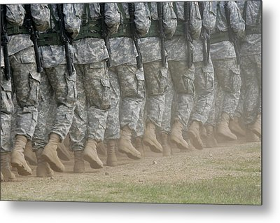 Army Rangers Marching In Formation Metal Print by Skip Brown