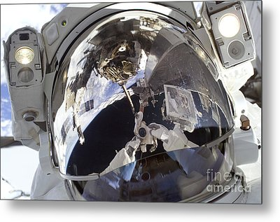 Astronaut Uses A Digital Still Camera Metal Print by Stocktrek Images