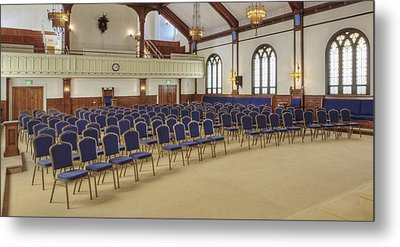 Auditorium With Blue Chairs And A Stage Metal Print by Douglas Orton