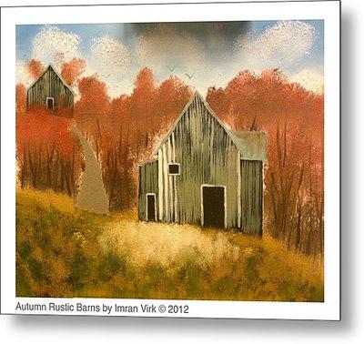 Autumn Rustic Barns Metal Print by Imran Virk