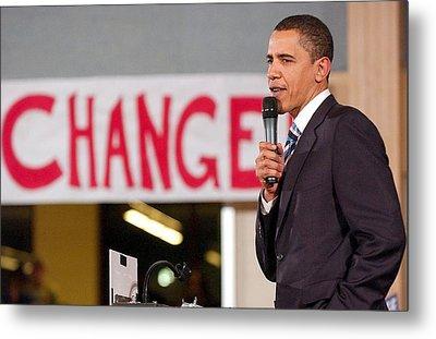 Barack Obama On Stage For Barack Obama Metal Print by Everett