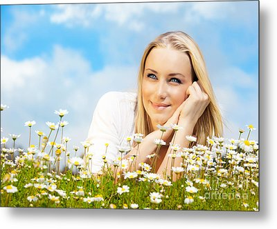 Beautiful Woman Enjoying Daisy Field And Blue Sky Metal Print by Anna Omelchenko
