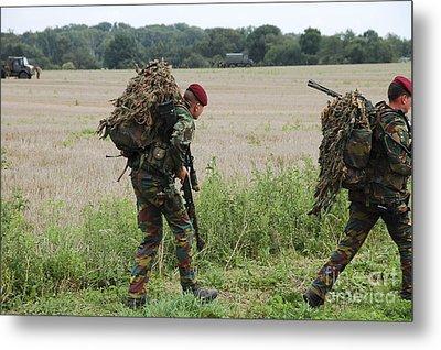 Belgian Paratroopers Red Berets Metal Print by Luc De Jaeger