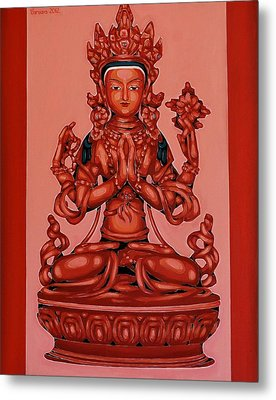 Buddha Of Compassion Metal Print by Varvara Stylidou