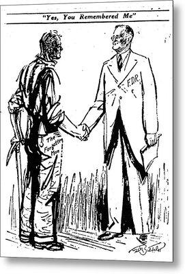 Cartoon: Fdr & Workingmen Metal Print by Granger