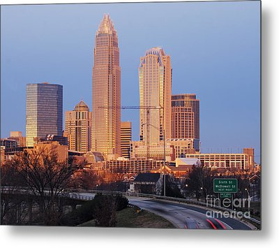 Charlotte Skyline At Sunrise Metal Print by Jeremy Woodhouse