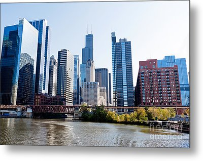 Chicago River Skyline With Sears-willis Tower Metal Print by Paul Velgos