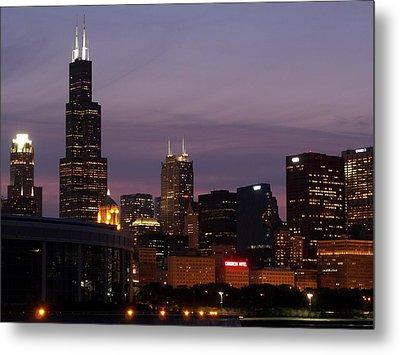 Chicago With A Purple Sky Metal Print by Dan Susek