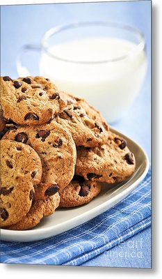 Chocolate Chip Cookies And Milk Metal Print by Elena Elisseeva