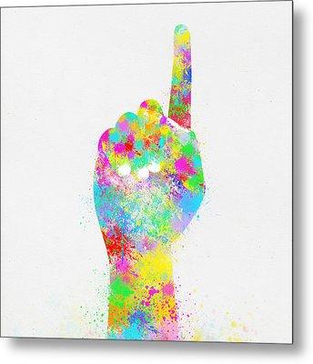 Colorful Painting Of Hand Pointing Finger Metal Print by Setsiri Silapasuwanchai
