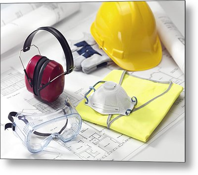 Construction Worker's Safety Equipment Metal Print by Tek Image