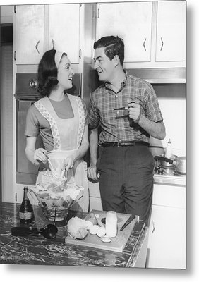 Couple Standing In Kitchen, Smiling, (b&w) Metal Print by George Marks